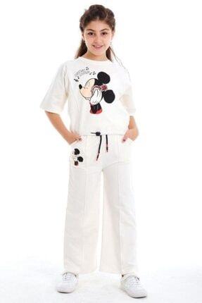 Riccotarz Kız Çocuk Boncuk Detaylı Mickey Mouse Beyaz Alt Üst Takım