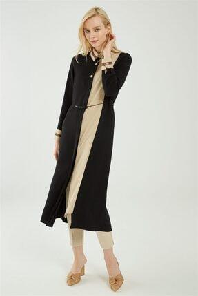 Zühre Kadın Düğme Ve Yaka Detaylı Uzun Tunik Siyah/bej T-1081