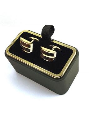 Kravatkolik Altın Renk Kahverengi Taşlı Dikdörtgen Kol Düğmesi