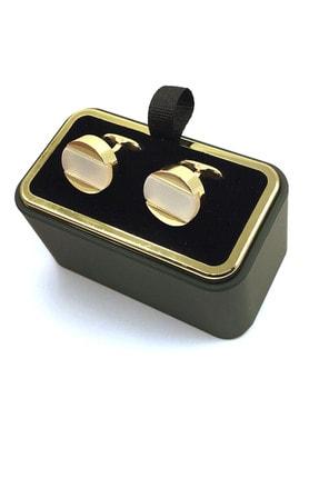Kravatkolik Altın Renk Beyaz Yuvarlak Kol Düğmesi Kd1266