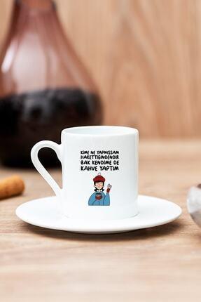 Hediyedukkani Bak Kendime De Kahve Yaptım Beyaz Türk Kahvesi Fincanı