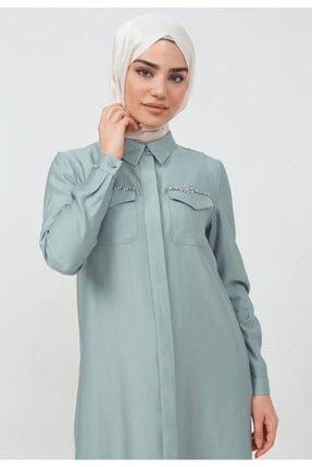 Setrms Kadın Mavi Boydan Düğmeli Cep Detaylı Tunik