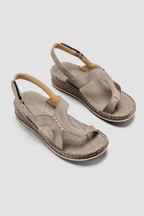 Limoya Hakiki Deri Debora Gri El Saraçlı Parmak Arası Sandalet
