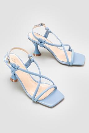 Limoya Cornelia Bebe-mavi Yüksek Topuklu Ince Bantlı Sandalet