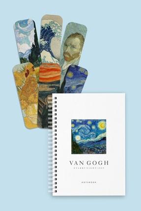 Özer Store Van Gogh Starry Night Sert Kapak Spiralli Defter Ve Kitap Ayracı Seti