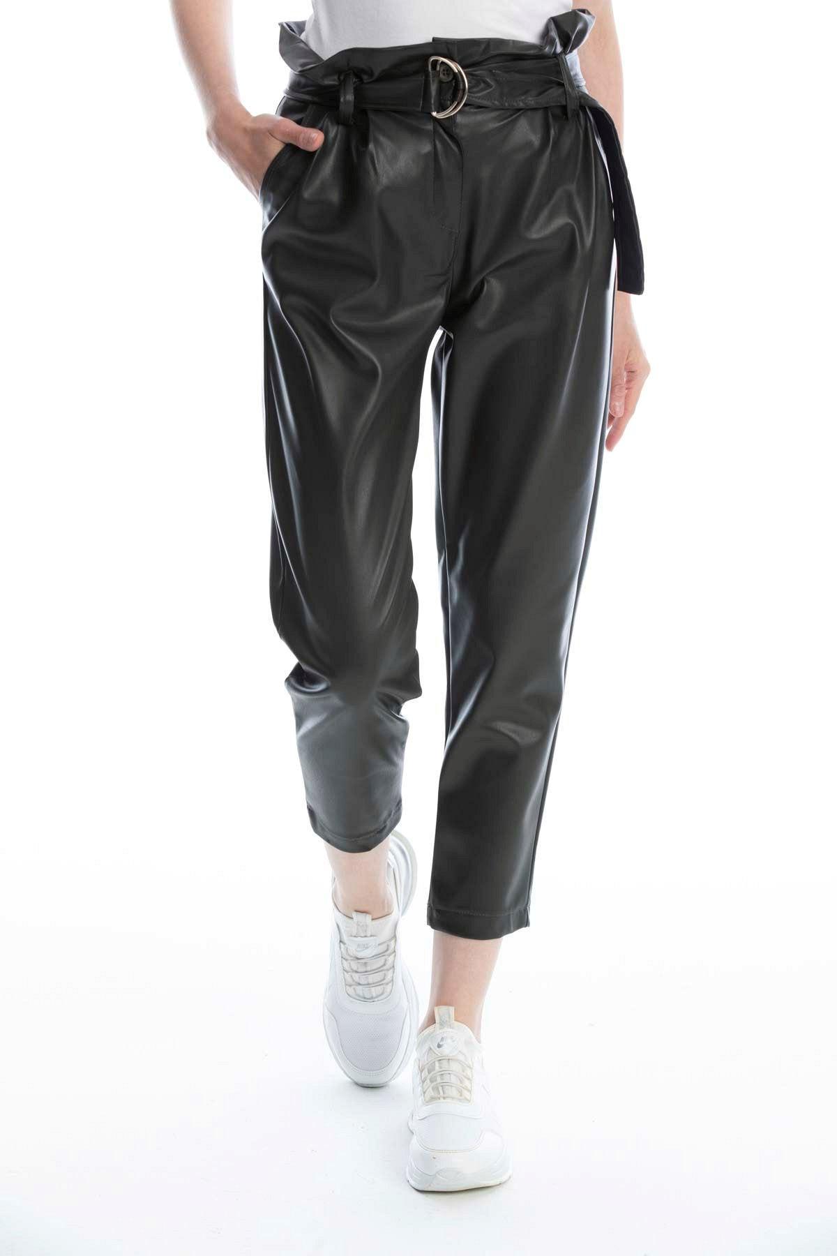 Makferlan Kadın Haki Beli Tokalı Kemerli Fırfırlı Yanlar Çift Cepli Suni Deri Pantolon 1