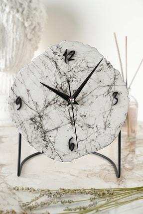 Muyika Design Muyika Diverso Mermer Görünümlü Dekoratif Masa Saati18x23cm Sessiz Mekanizmalı