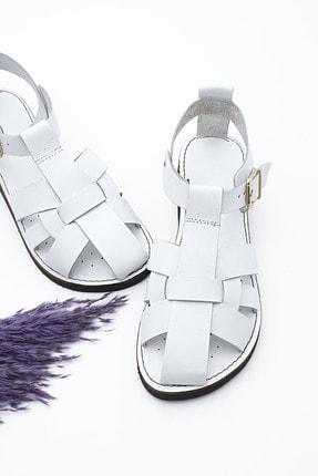 Marjin Kadın Hakiki Deri Sandalet Olinbeyaz