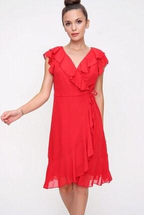 By Saygı Volan Detaylı Astarlı Anvelop Şifon Elbise Kırmızı