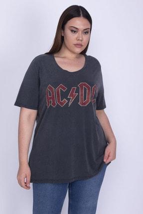 Şans Kadın Antrasit Pamuklu Kumaş Taş Detaylı Bluz 65N25901