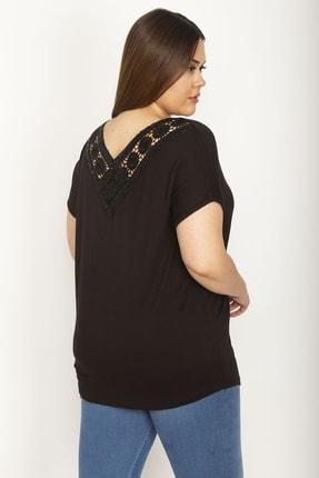 Şans Kadın Siyah Dantel Detaylı Viskon Bluz 65N26415