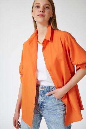 candybia Kadın Oranj Oversize Uzun Basic Gömlek