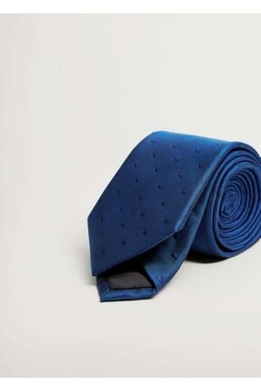 MANGO Man Erkek Mavi Puantiyeli Kravat
