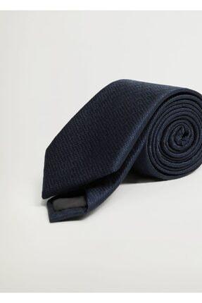 MANGO Man Erkek Lacivert Geometrik Baskılı Kravat
