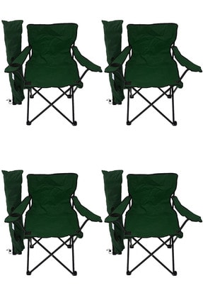 Bofigo 4'lü Kamp Sandalyesi Piknik Sandalyesi Katlanır Sandalye Taşıma Çantalı Kamp Sandalyesi Yeşil