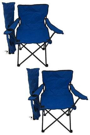 Bofigo 2'li Kamp Sandalyesi Piknik Sandalyesi Katlanır Sandalye Taşıma Çantalı Kamp Sandalyesi Mavi