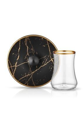 Koleksiyon1 Koleksiyon Dervish Çay Seti 6lı Mermer Siyah Mat Altın