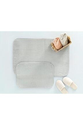 English Home Cord Fitilli 2'li Banyo Paspası Seti 60x90-40x60 Cm Açık Gri