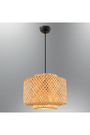 Özcan Aydınlatma 4460-14 Bambu Bambu 25x20 Cm. Lamba Ahşap Sarkıt