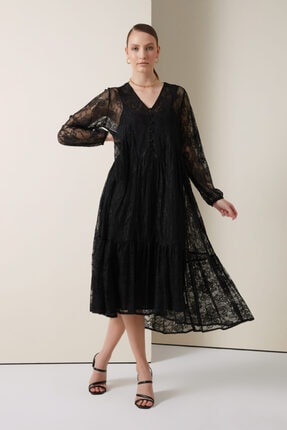 Gusto Uzun Dantel Elbise - Siyah