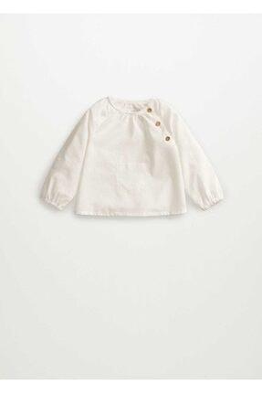 MANGO Baby Unisex Bebek Beyaz Organik Koton Bluz
