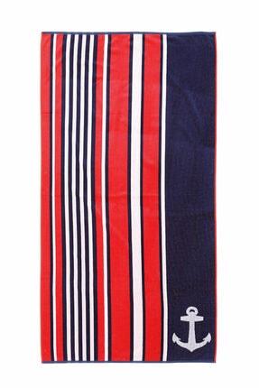 Özdilek Cannes Stripe Anchor Kadife Plaj Havlusu 86x162