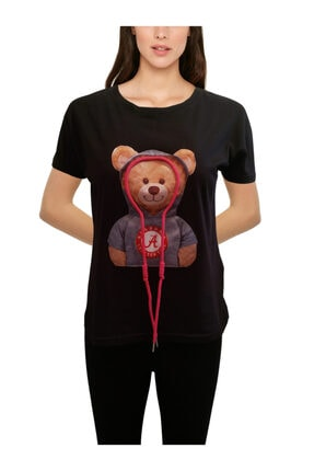 EMELİM Neşeli T-Shirt, Bisiklet Yaka, %97 Pamuk Penye, 3D Desen