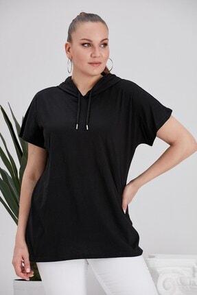 RMG Kadın  Kapşonlu Siyah Büyük Beden Tişört