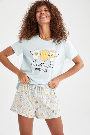 DeFacto Baskılı Relax Fit Pijama Takımı