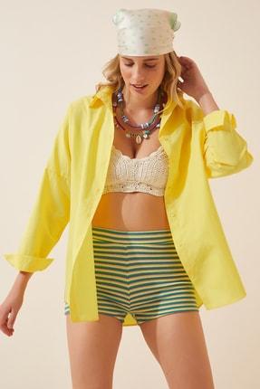 Happiness İst. Kadın Sarı Oversize Uzun Basic Gömlek  DD00842