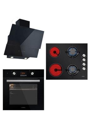 Luxell Vitro 2+2 Dijital Saat Siyah Cam Ankastre Set