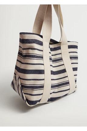 MANGO Woman Pamuklu Kumaş Shopper Çanta