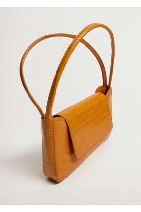 MANGO Woman Kapaklı Baguette Çanta