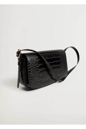 MANGO Woman Kadın Siyah Timsah Derisi Görünümlü Baguette Çanta