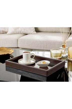 English Home Leather Suni Deri Tepsi 34x22x4 Cm Kahverengi