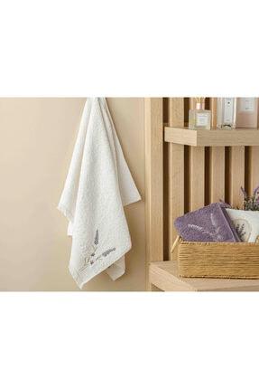 English Home Lavender Nakışlı Yüz Havlusu 50x80 Cm Ekru