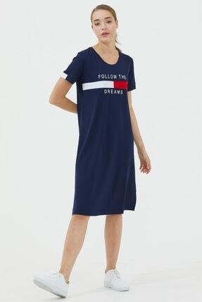 Sementa Rahat Kalıp Dökümlü Elbise - Lacivert
