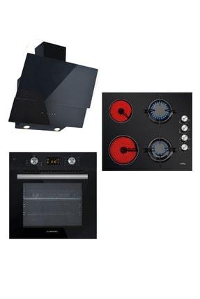 Luxell Vitro 2+2 Dokunmatik Dijital Siyah Cam Ankastre Set
