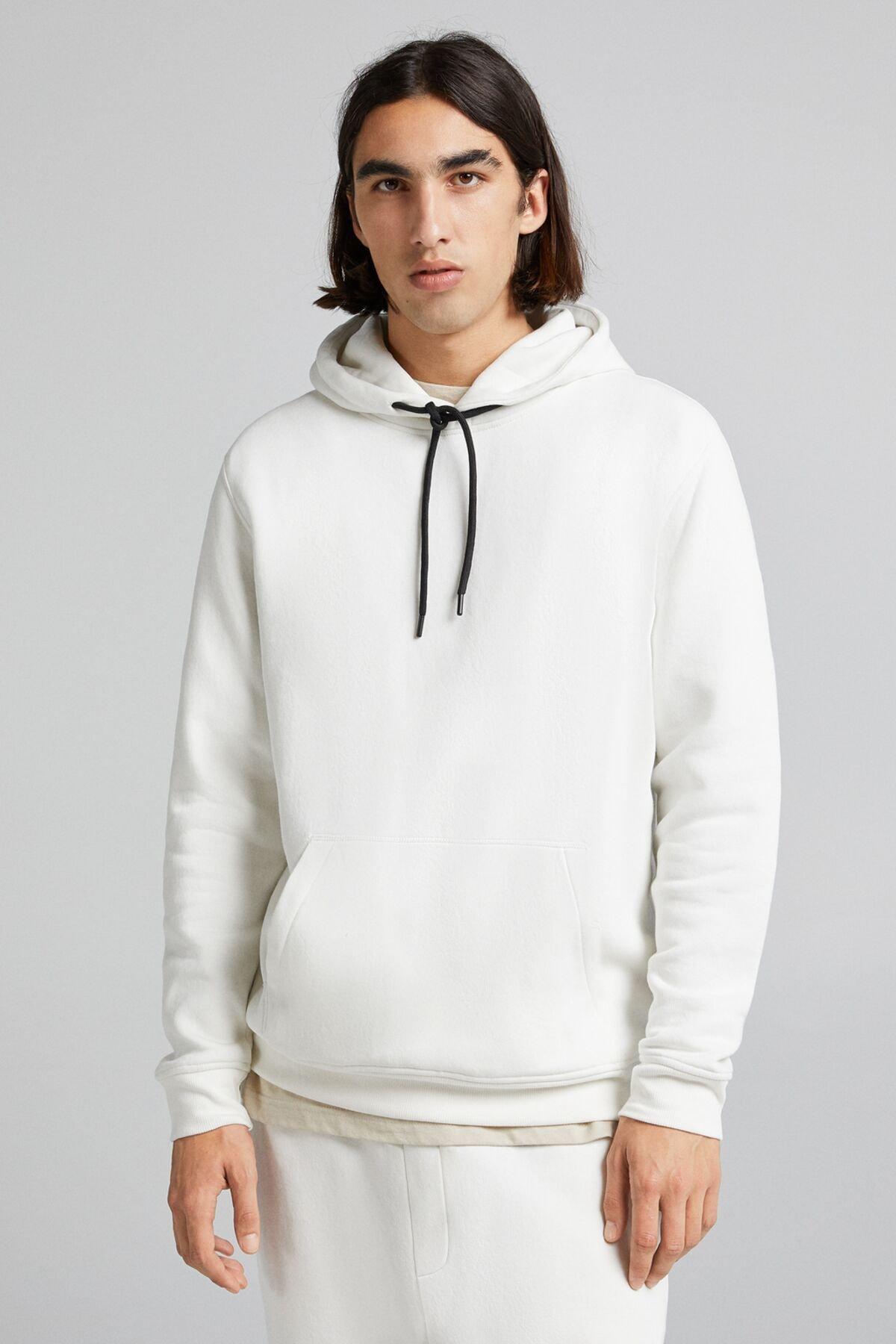 Bershka Erkek Krem Kapüşonlu Sweatshirt