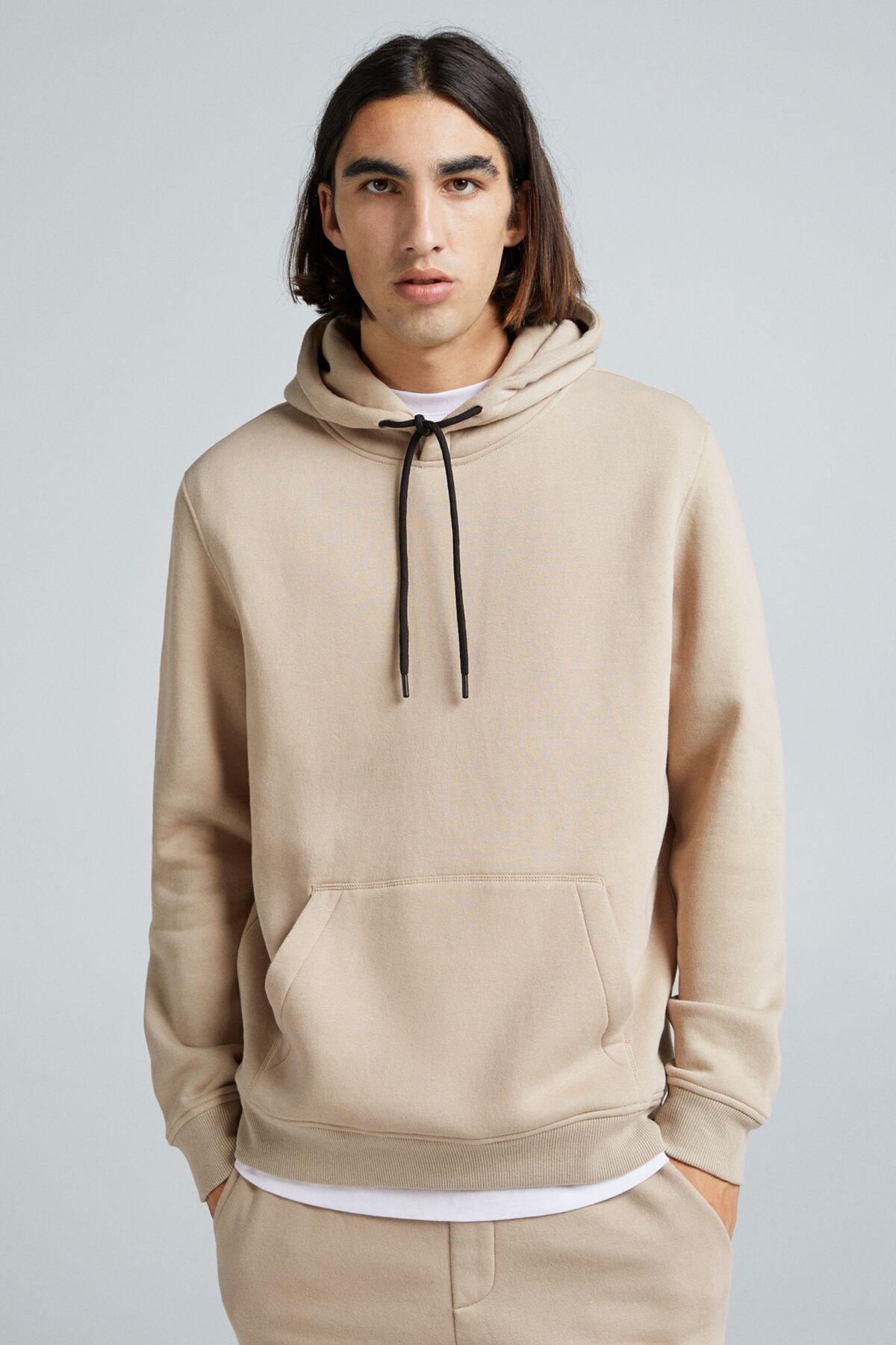 Bershka Erkek Kum Rengi Kapüşonlu Sweatshirt