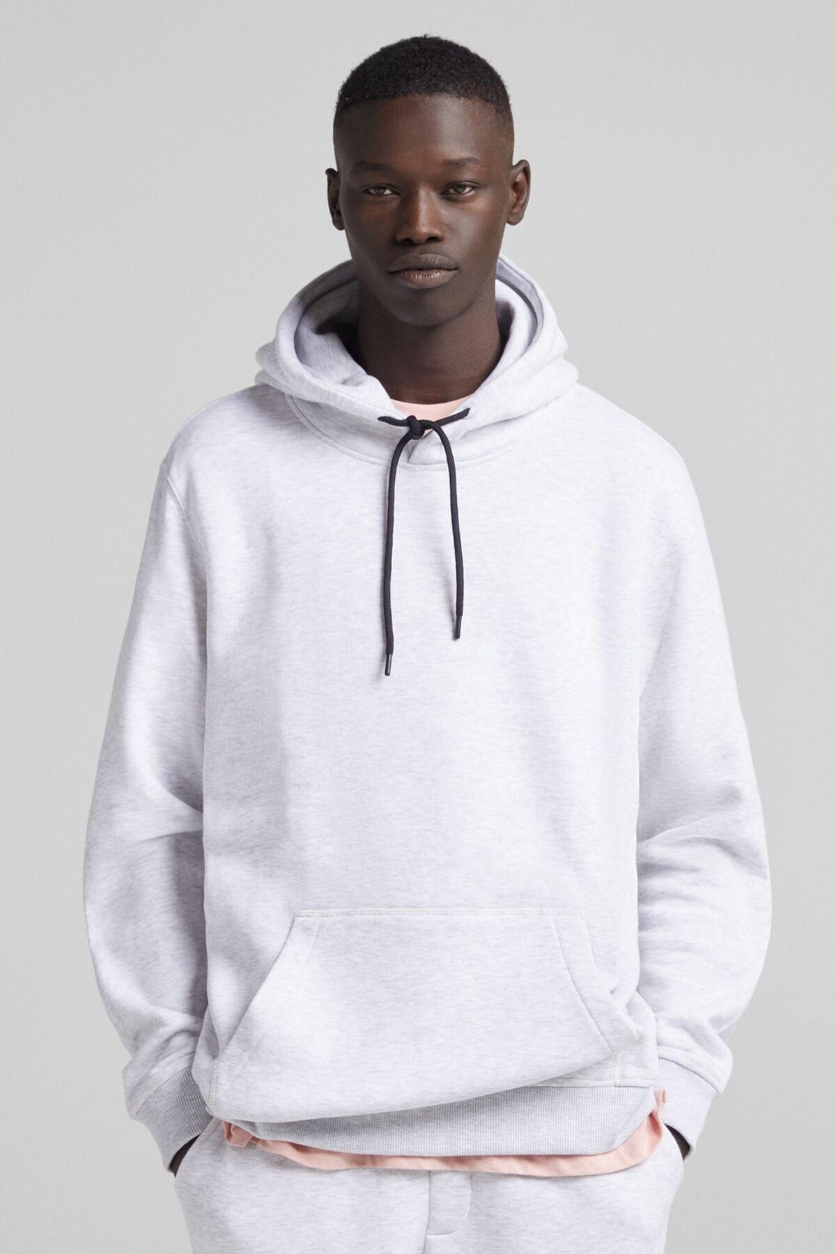 Bershka Erkek Gri Kapüşonlu Sweatshirt