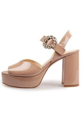 Flower Vizon Rugan Taşlı Tokalı Platformlu Ayakkabı