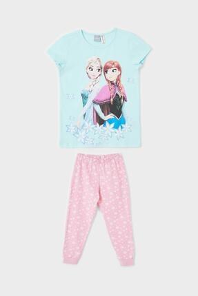 DeFacto Kız Çocuk Turkuaz Frozen Lisanslı Kısa Kollu Pijama Takımı