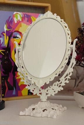 MEDİZZONE Masaüstü Dekoratif Oval Makyaj Aynası Beyaz