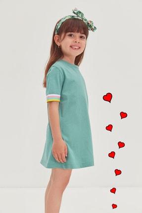 TRENDYOLKIDS Mint Şerit Detaylı Kız Çocuk Örme Elbise TKDSS21EL4346