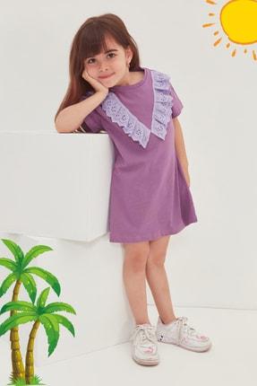 TRENDYOLKIDS Mor Brode Detaylı Kız Çocuk Örme Elbise TKDSS21EL4345