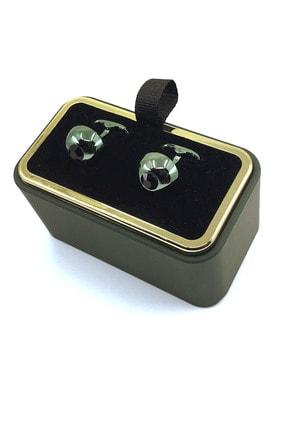 Kravatkolik Yeşil Renk Siyah Taşlı Yuvarlak Kol Düğmesi Kd1286