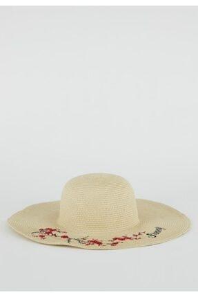 DeFacto Çiçek Desenli Hasır Şapka
