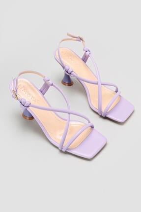 Limoya Cornelia Lila Yüksek Topuklu Ince Bantlı Sandalet