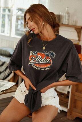 blackjack giyim Blackjackgiyim Kadın Antrasit Aloha Baskı Oversize Tshirt